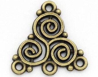 lot 10 Celtic connector triangle color bronze 20 x 20 mm