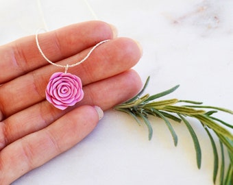 Handmade rose flower - Flower girl gift -  Romantic gifts for her - Polymer clay jewelry - Silver jewelry - Polymer clay necklace - Flowers