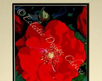 Fête des mères Rose - feutrée modifié Photo, Red Rose impression d'Art photographique, fleur décoration murale, Home Decor Floral, botanique Art Print