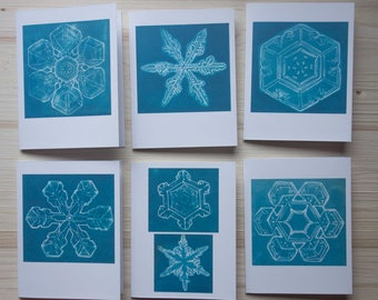 Snowflakes - Set of six blank greeting cards