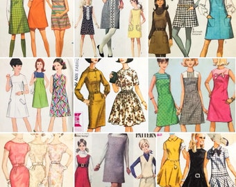 9 Vintage 1960's Junior/Teen Sewing Patterns Modern sz 6-8-10-12 Dresses Romper (0264)