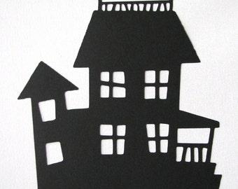 Halloween haunted house die cut silhouette