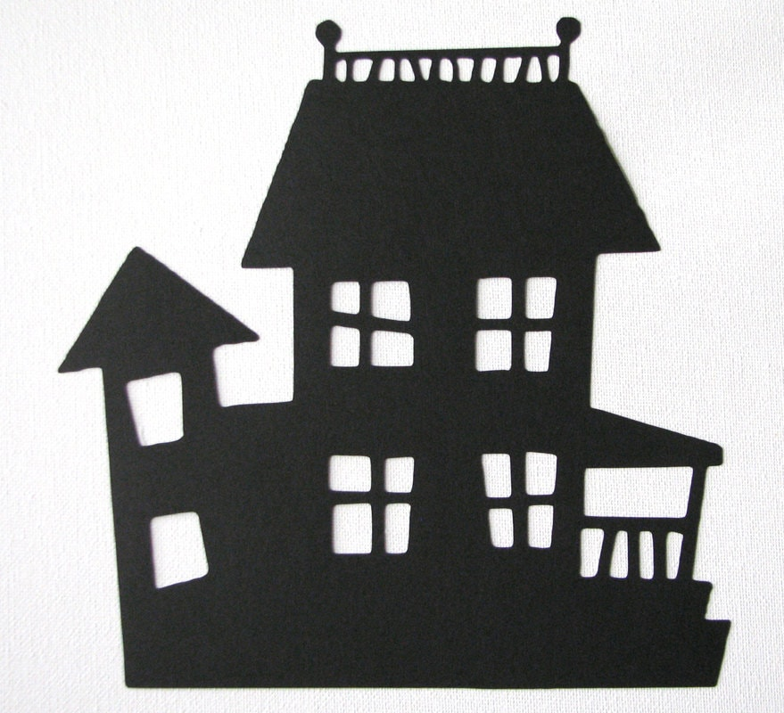 haunted house silhouettes coloring pages - photo#22