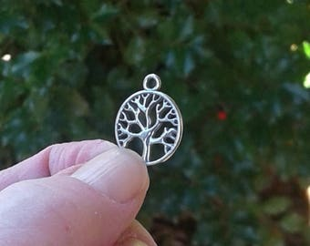 """Sterling Silver Tree of Life Charm - 9/16"""" or 15 mm"""