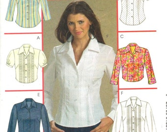 """McCalls M5135, Sz 6-12/Bust 30.5-34"""".  Short/Long Sleeve Blouse/Ladies shirt pattern, 6 styles of shirts, UNCUT Misses/Misses Petite pattern"""