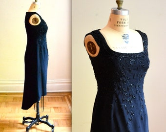 Vintage Black Beaded Dress// 80s VIntage Beaded Dress with High Low Hem Size Medium by Bizar