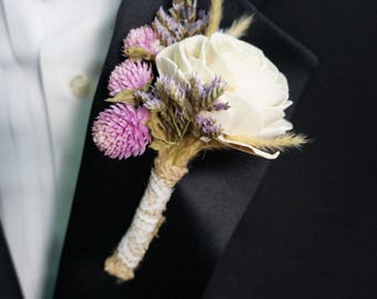 Lavender Dreams Sola Flower Boutonniere// Wood Flower Boutonierre