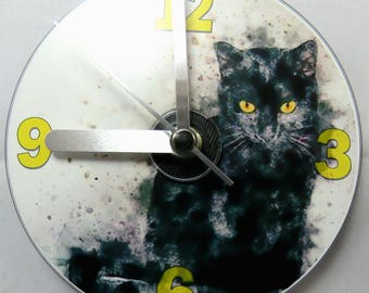 Black Cat Retro CD Clock, Black Cat Clock, Cat Lovers Gift.