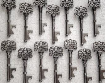 "Skeleton Key BOTTLE OPENERS – Set of 100 – Gunmetal Black – 3"" Long (76mm) –Vintage Style - Create Your Own Wedding Favors! Ships from USA."