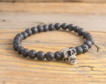 6mm - Black lava stone beaded stretchy bracelet with silver skull, made to order bracelet, womens bracelet, mens bracelet, lava bracelet