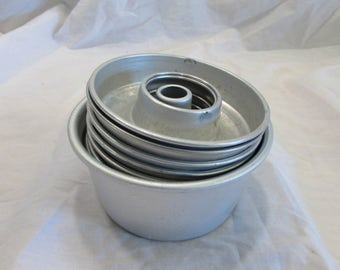 Baking Set, One Miniature Bundt Pan, Eight Miniature Rings, Aluminum, 1970's