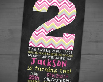 Second Birthday Chalkboard Invitation - Chevron Party Invite - Pink Yellow Grey - Printable or Printed - SHIPPING INCLUDED - 4x6