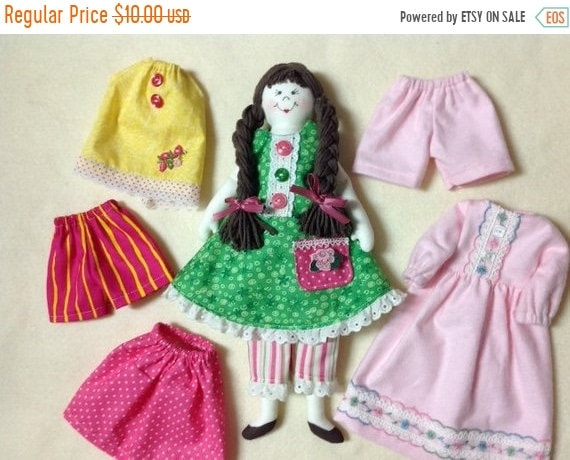 ON SALE Dress Me Up Dolly - Mailed Cloth Doll Pattern Dress Up Doll
