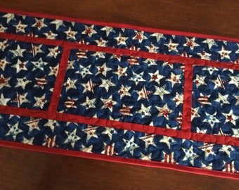 Independence Day Table Runner, 4th of July Quillted Runner, Patriotic Table Runner, Red White Blue Runner, Star Table Runner