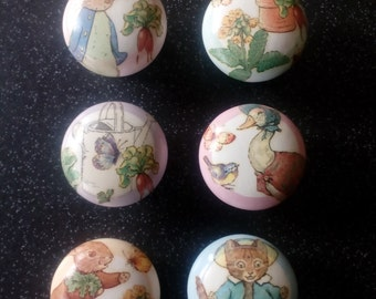 Set of 6 Handcrafted Door Knobs featuring 'Peter Rabbit & Friends'