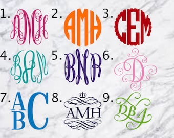 Monogram Decal, Yeti Decal, Tumbler Decal, Vinyl Decal, Car Decal, Instant Pot Decal, Macbook Decal, Laptop Decal, Monogram Sticker