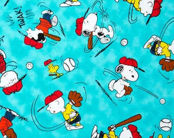 Snoopy Baseball All Stars Fabric from Quilting Treasures - You choose the cut