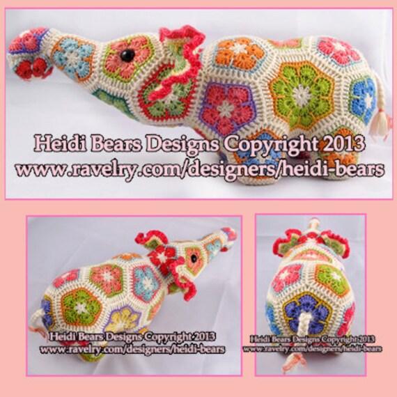 Nellie el elefante africano flor Crochet patrón