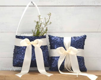 Flower Girl Basket and Ring Bearer Pillow Set with Navy Sequin and Ivory Satin Bow