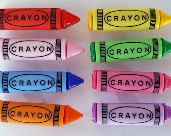 CRAYONS - Children School Colouring In Art Teacher Dress It Up Craft Buttons
