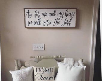 As for me and my house we will serve the Lord - scripture - inspirational sign - wood sign