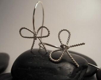 Pretty Bow Spiral Sterling Silver Earrings