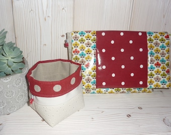 Flowers and polka dot oilcloth wash bag