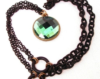 Emerald Green Glass Pendant Necklace with Black Brass Chains
