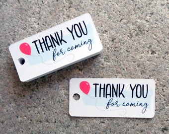 Small Thank You For Coming Tags Birthday Thank You Tags Party Favor Thank You Tags Birthday Party Tags Set of 25 Custom Color Balloon Tags
