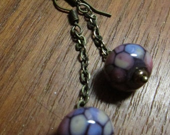 Colorful Glass Earring, Chained Lampwork Earring