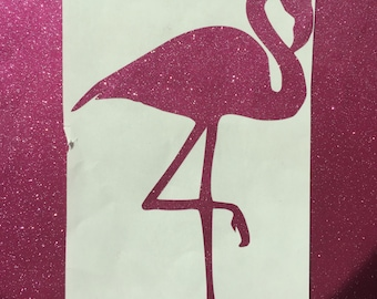 Glitter Flamingo Monogram Vinyl Decal
