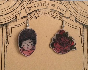 Artist Frida Kahlo Shrink Plastic Earrings
