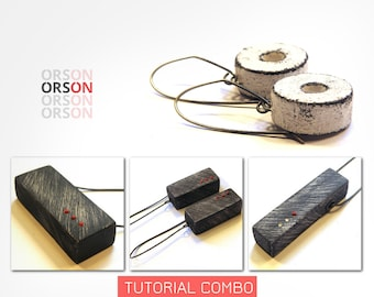 Orson's COMBO Original Hollow Boxes & Millstone earrings in Polymer Clay Original tutorial e-book in English ONLY