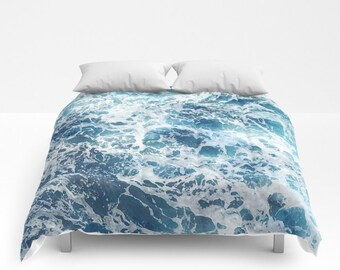 Blue Water Comforter, Ocean Duvet Cover, Full Queen King, Sea Foam Bedding, Blue Waves Bed Cover, Beach Decor, Blue Comforter, Summer Duvet