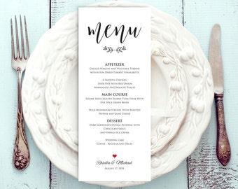 Wedding Menu Template, Rustic Wedding Menu, Menu Printable, Menu Cards, Rustic Wedding, Wedding Dinner Menu, PDF Template, WPC_309SD2A
