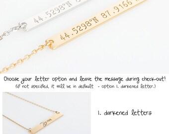 Custom Coordinates necklace, Personalized Location Jewelry, Latitude Longitude Necklace, Wedding Location Necklace, Gold Bar Necklace