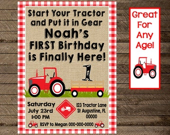 tractor invite, tractor invitation,blue tractor, tractor birthday, boy tractor party, red tractor party, farm birthday, 1st, 2nd, 3