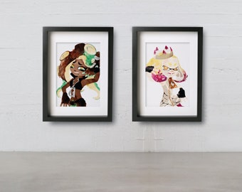 PEARL & MARINA posters - Inspired by Splatoon 2 watercolor giclee print