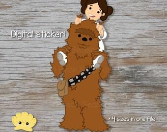 Chewbacca and Princess Leia Printable Clipart