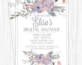 Bridal Shower Invitation, Purple Watercolor Floral Invitation, CUSTOM 4x6 or 5x7 size, printable, Wedding Shower Invite