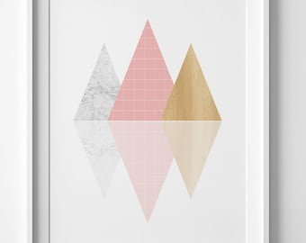Contemporary art, Geometric pink art, downloadable print, printable art, mountain print, pink wall art, pink wall print, pink print