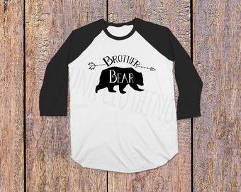 Brother Bear, Bear Family Baby Brother Bear Shirt, Sibling Shirt for Brother Cozy Raglan Rustic Woodland Brother Shirt, Boho Brother Print