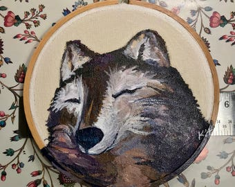 Original Painting of happy Wolf in acrylic on canvas stretched on a 5 inch round embroidery hoop ready to hang