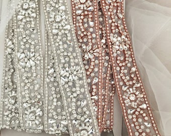 Lux silver based rhinestone beaded applique, wedding sash bridal belt beaded applique accessories