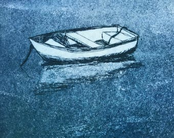 original etching and aquatint of a rowboat, with mat