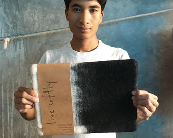 """Hand Felted Wool Laptop Case - Black & White Ombre- Sizes: 11-12""""/ 13""""/15"""""""