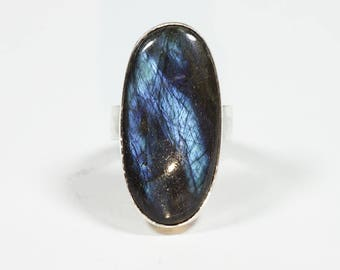 Labradorite Ring Silver Size 8.4 (8) Unique 269