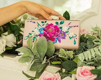 Handtas met bloemen, textiel schilderen, hand borduren, lederen schilderij, roze koppeling voor perfecte dame, roze de handzak