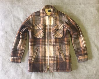 Vintage Flannel Brown Orange Plaid Zip up Winter Coat Size Small S