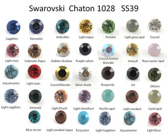12pcs x Swarovski SS39 Multi Colors 8.2mm Round Xilion Crystal 1088 chaton 39ss (S1028SS39)